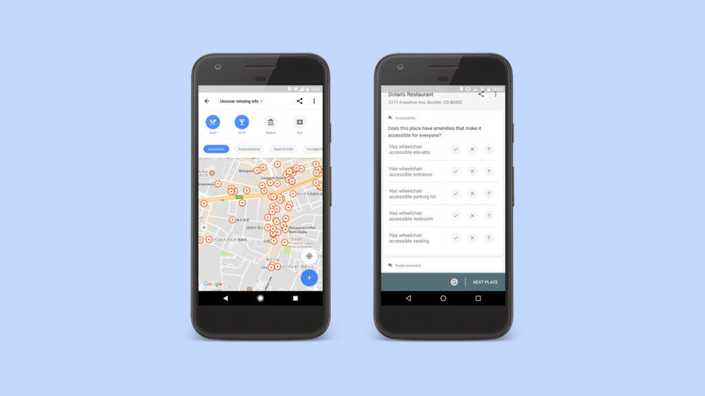 Google Maps on a mobile device
