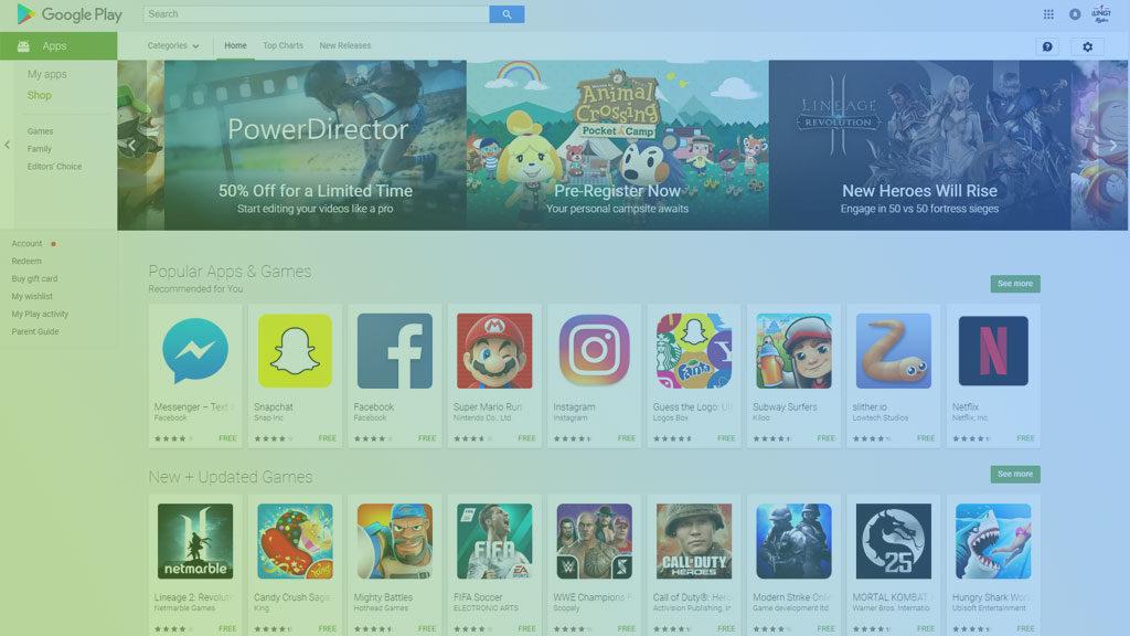 Google Play store as viewed in browser
