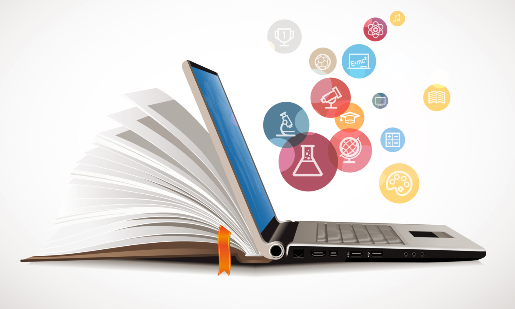 E-learning image of a book flipping into an open laptop