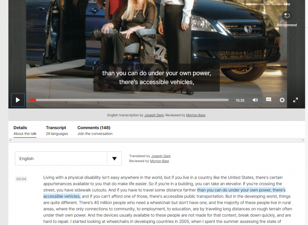 Screen shot of a half of a video player,  with text transcript under the player.