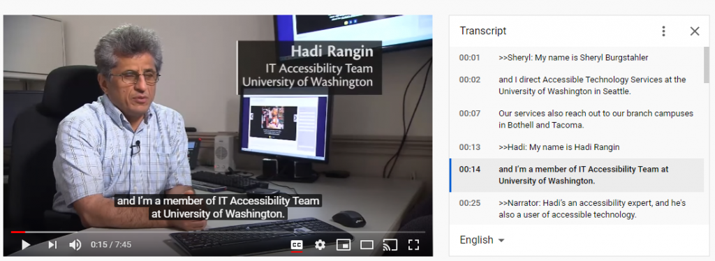 A screenshot of the text transcript to the right of the video player.
