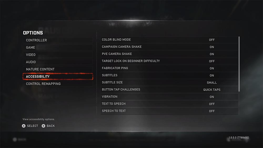 Screenshot of the Gears5 accessibility features