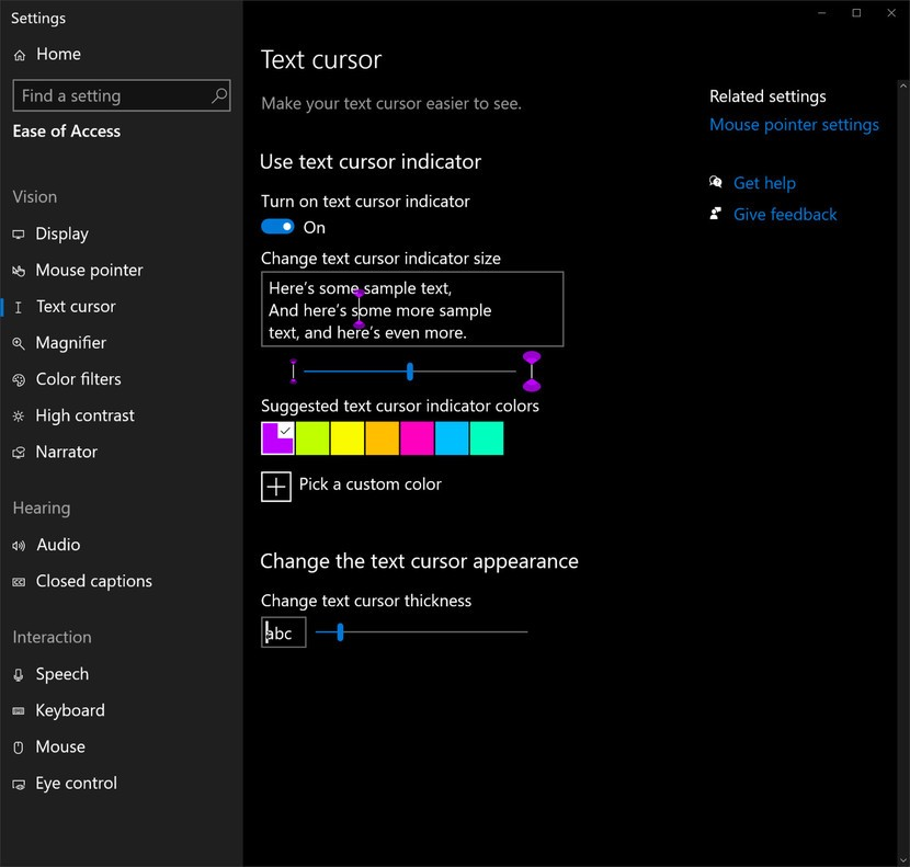 Screenshot of Windows 10 cursor customization panel