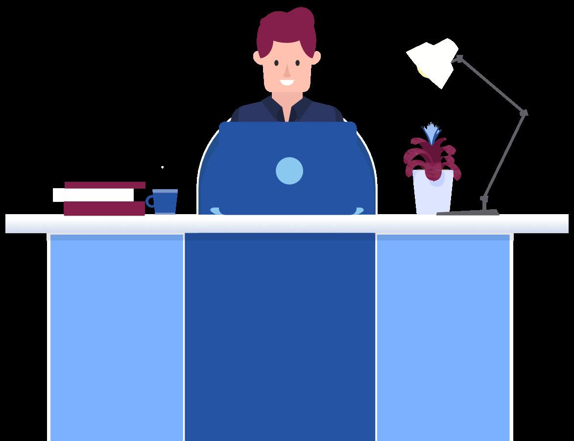 Cartoon man sitting behind a computer at a desk.