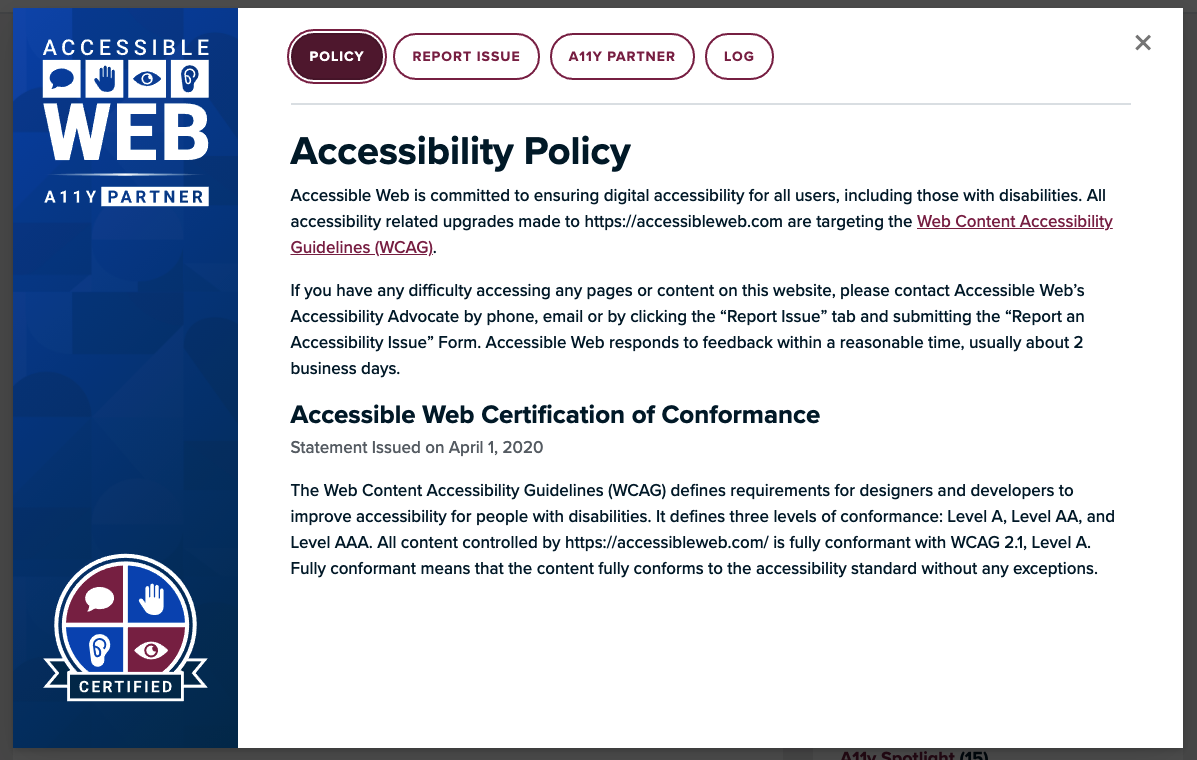 Accessibility badge & statement screenshot