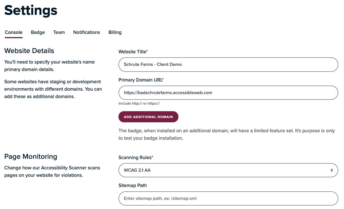 Console settings screenshot