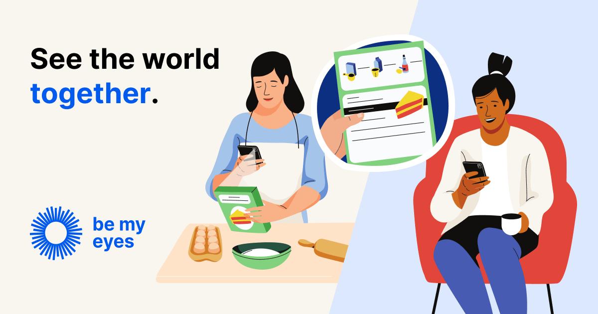 Cartoon woman showing friend baking instructions via video call.