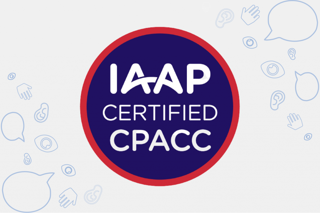 IAAP CPACC Logo on white background with Accessible Web Logo elements