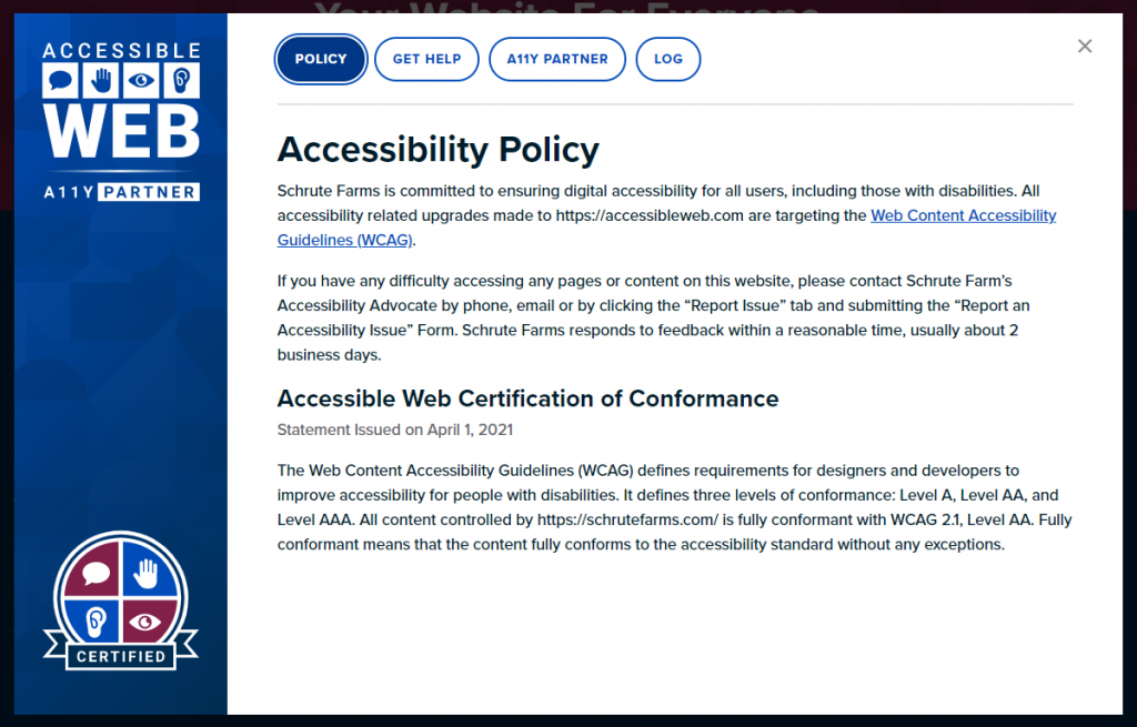 Web Accessibility Certification Badge